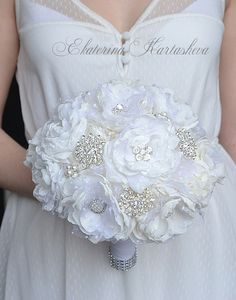 Bridal Brooch Bouquet, Wedding Bouquet, Fabric Bouquet, Bridal Bouquet, White and Ivory Bouquet, Vintage Wedding