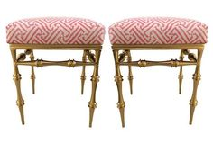 Quadrille Upholstered Gilt Stools, Pair