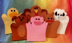 Puppets: A fun gift idea, whether finger puppets or hand puppets. These wool felt ones are DIY-friendly. #boy #girl #ages3to7 $24 for a set of six