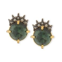 Alexis Bittar Elements Spiked Rose-Cut Crystal Stud Earrings (£49) ❤ liked on Polyvore featuring jewelry, earrings, green, post earrings, spike jewelry, alexis bittar earrings, spike earrings and pave earrings
