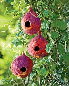 Love these felted bird shelters!