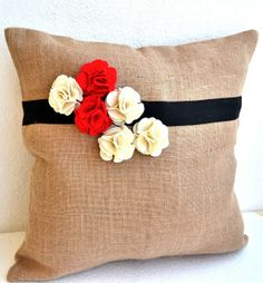 Throw Pillow Covers on bed | Burlap pillow cover with red white flower - Decorative cushion cover #pillows #pillowsforhome #beautifulpillows ...