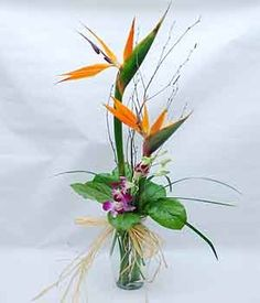 Paradise Sampler Give someone a sample of paradise with this clear bud vase featuring Dendrobium Orchids, Bird of Paradise and curly ting accented with a raffia bow