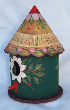 Wooden Bird Houses, Bird Houses Painted, Decorative Bird Houses, Bird Houses Diy, Painted Birdhouses, Forest Flowers, Winter Flowers, Birdhouse In Your Soul, Homemade Bird Houses