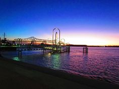 Colorful #sunset over a pier in Baton Rouge, #Louisiana. Photo: Jim Kemp.