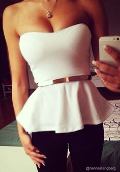 Flared White Top - With Belt. Highlight your bust asset in this super sexy white top featuring sweetheart neckline and padded cup to enhance the figure of the wearer.