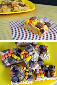 Loaded Peanut Butter Crispy Treats! The perfect treat for Halloween and Fall!