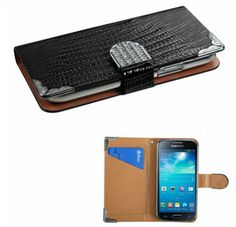 SAMSUNG Galaxy S4 mini Black Crocodile Skin MyJacket Wallet (with Metal Diamonds Buckle & Silver Plating Tray)(831) (with Package)