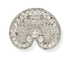 f360f4c7b69e A BELLE EPOQUE DIAMOND PENDANT BROOCH Designed as an openwork shell-shaped  plaque