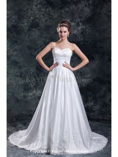 Taffeta Spaghetti Neckline Chapel Train A-Line Embroidered Wedding Dress