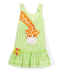 Nannette Girl Green Giraffe Gingham Drop-Waist Dress - Infant, Toddler & Girls | zulily
