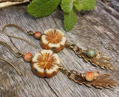 Flower Leaf Earrings Botanical Earrings Rustic by BonArtsStudio