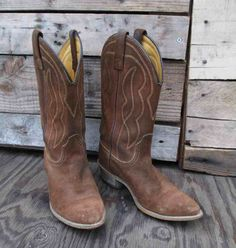 Vintage cowboy boots are yummy brown suede with patina and they are fantastic. Vintage 70s cowboy boots are just so cool, these are made in the