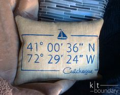 Personalized Map Coordinates Burlap Pillow - Sailboat pillow by ktboundary24, $28.00
