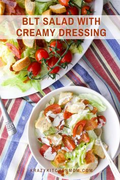 BLT Salad with Creamy Mayo Dressing The classic flavor combination of a bacon, lettuce, and tomato sandwich transformed into a crispy, cold, refreshing salad. Summer Salad Recipes, Easy Salad Recipes, Salad Dressing Recipes, Easy Salads, Easy Meals, Healthy Recipes, Summer Salads, Weeknight Meals, Unique Recipes