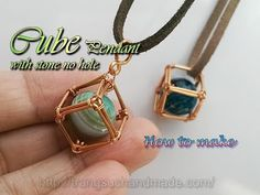 (3) Cube pendant - How to wrapping big stone without holes 363 - YouTube