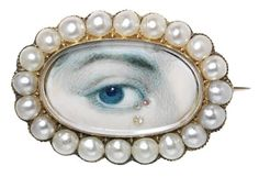 'Eye miniatures', where one eye of the sitter was painted, were all the rage from 1790 to 1810. Most were tiny and set as brooches. This one has tears made out of little diamonds.