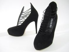 NEW BRIAN ATWOOD Black Suede Lola Caged Platform Pumps Heels SZ 38 8 at www.ShopLindasStuff.com