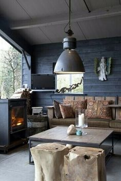 Comfy rustic inspired cabin sitting room