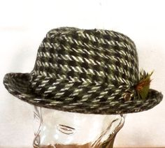 507ad453d60419 Details about Men's Vintage Fedora-Union Tag-Wool-Size XL-7 3/8-Hat  Band-Green-Houndstooth