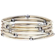 New Look Silver and Gold Curved Tube Stretch Bracelet Pack ($2.92) ❤ liked on Polyvore featuring jewelry, bracelets, stretch jewelry, gold and silver jewelry, ball jewelry and gold and silver bangles