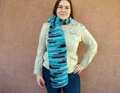 Agean Stripes Scarf in Blue, Grey, Black for Men or Women - Striped Scarf - Crochet Scarf - Hoooked Scarves - Ready To Ship by HoookedHandmade