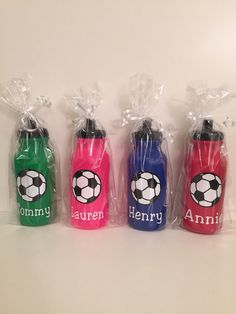 Kids Party Favor Sports Bottles hockey soccer by PutUrNameOnIt