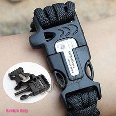 Side Release whistle Buckle w/ Flint Fire Starter & Scaper for Paracord Bracelet