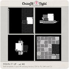 Mixin It Up 8 - 12x12 Digital Scrapbooking Templates
