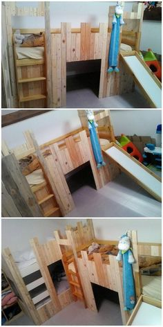 Undoubtedly, creation of the bunk bed designing always look so magical and charming, when it is being carried out with the crafting of wood pallet. See this image of unique wood pallet creation and we are sure that you would be desiring to have it in your house kids room area.
