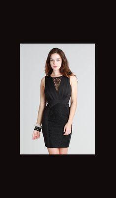 af6a7813616f Black Lace Bodice Pintucked Dress $33.00. Www.novellecouture.com Make a  dramatic entrance
