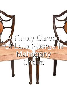 A finely carved pair of late George III period mahogany Hepplewhite chairs The concave shaped back with beautifully executed carved and inlaid decoration Square tapering supports ending in block feet Measures Seat height 185 inches Late Modern Period, Concave, Dining Bench, Chairs, Carving, Decoration, Home Decor, Decor, Decoration Home