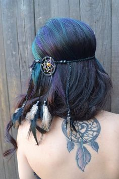 Dreamcatcher Feather Headband Black Feathers Hair by VividBloom