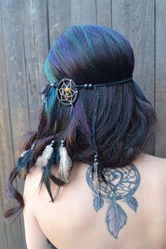 Dreamcatcher Feather Headband Black Feathers Hair by VividBloom