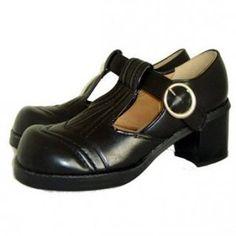Chunky black vintage unworn 1970's platform t-bar shoes UK 4