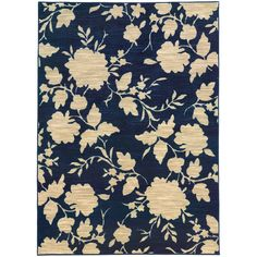 This elegant blue and beige floral rug is 7'10 by 10'10. The rug features an easy to clean 1 inch pile height and durable nylon construction.
