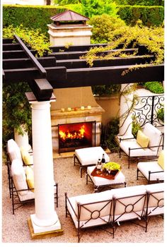 Outdoor living, pergola, outdoor fireplace, outdoor furniture, dream home Outside Living, Outdoor Living Areas, Outdoor Rooms, Outdoor Decor, Outdoor Dining, Outdoor Stone, Outdoor Retreat, Patio Furniture Outdoor, Cast Aluminum Patio Furniture