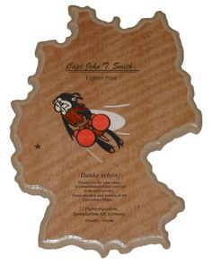 """22d Fighter Squadron - Spangdahlem AB, Germany Plaque 14"""" x 10 1/2""""  The 22 FS plaque is inlaid with natural and color dyed wood veneer and coated with thick, durable epoxy. Typically the engraving includes the member's name, unit, tour dates, farewell statement.  Contact me through Facebook at www.facebook.com/collectablewoods or email at bmwelch@collectablewoods.com."""