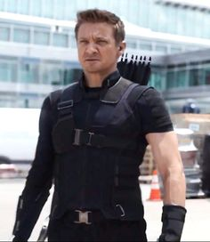 Okay, this looks bad. Hawkeye is a regular human. He's the last person who should have any skin showing. At least his weapon isn't something that could cause an injury to his unprotected arm. Oh, wait...