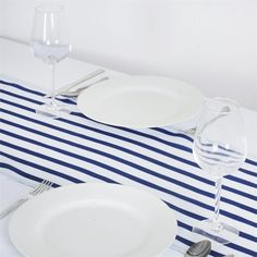 Ever Lovable Stripes Table Runner - White / Navy |  Stripes form the basics of fashion. You can have wide lines or small lines and both still look really good. People simply love patterns and then decorating around them. So why settle for plain when you can have the bestselling stripe style for your table tops. And to top it off, we've made the material satin so they shine and look bright under light. Try it and stand out and look magazine front page worthy!