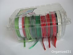 Organized 31: Repurposed Berry Container for Ribbon Storage