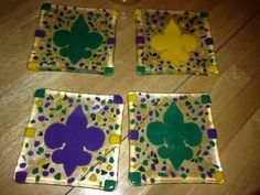 Mardi Gras appetizer 6 inch plates for my New Orleans daughter~