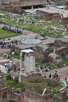 View from the Palatine Hill of the ruins of the Roman Forum and Temple of Vesta in the foreground