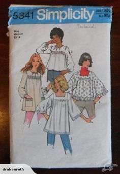 Vintage 70s Top Patterns Size 10-12 | Trade Me- OMG I made this top!