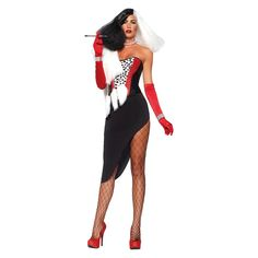 Leg Avenue Women's Sexy Cruel Diva Halloween Costume There's no cruelty involved in making this Leg Avenue Cruel Diva costume. This sexy costume features a spotted bustier with sequin detail, asymmetrical skirt, faux fur wrap, and faux rhinestone Cruella Deville Halloween Costume, Costumes Sexy Halloween, Soirée Halloween, Villain Costumes, Adult Costumes, Costumes For Women, Cruella Costume, Halloween Parties, Trendy Halloween