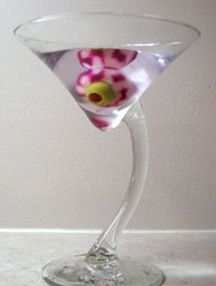 "A ""bloody eyeball"" martini recipe - using an ice ""eyeball"" made from an olive and a shaved radish. Very clever!"