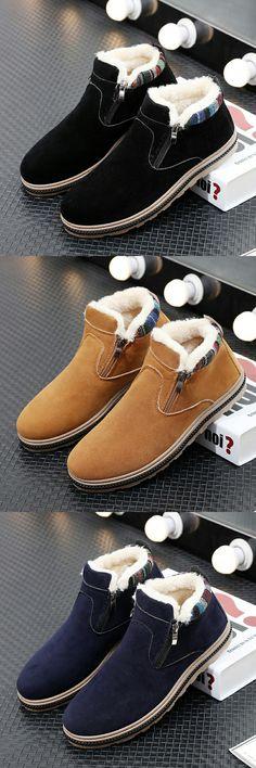 US $19.48 <Click to buy> Prelesty Vintage Men Winter Snow Boots Keep Warm Plush Ankle Boot Work Shoes Men's Cotton Shoes Fur Botas Hombre