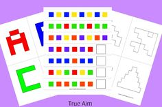 Free Alphabet, Pattern, and Shape Cube Puzzle Printables Preschool Rules, Kindergarten Math Games, Preschool Literacy, Preschool Lessons, Alphabet Activities, Math Activities, Toddler Activities, Shape Puzzles, Cube Puzzle