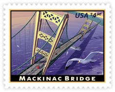 Mackinac Bridge • as part of the USPS collection • by Dan Cosgrove • February 3, 2010