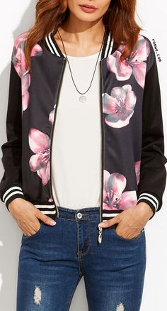 Shop Black Striped Floral Print Bomber Jacket at ROMWE, discover more fashion styles online. Floral Bomber Jacket, Printed Bomber Jacket, Print Jacket, Bomber Jackets, Cute Girl Outfits, Casual Outfits, Fashion Outfits, Moda Outfits, Floral Stripe